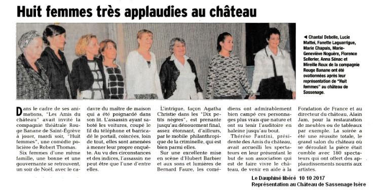 PRESSE Dauphiné Rouge banane Théâtre Huit femmes 10 10 2017